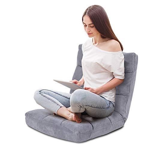 Individuelle Möbel Sofa (COSTWAY Bodenstuhl verstellbar, Bodensessel gepolstert, Bodenkissen mit Rückenlehne, Meditationsstuhl Fensterstuhl (grau))