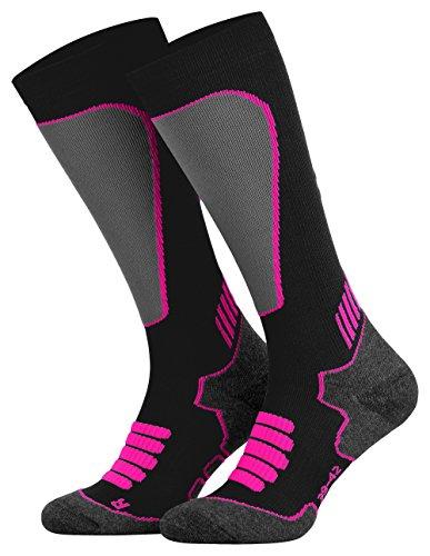 Tobeni Sport Kompressionsstrümpfe Biking- Running- Skiing- Socken für Frauen und Männer Farbe Schwarz-Neon-Pink Grösse 35-38
