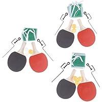 P Prettyia 1 Par de Raqueta de Tenis de Mesa Portátil con Accesorios de Pelota para Entrenamiento y Juego - 3 Bolas Amarillas, 250x150x5mm