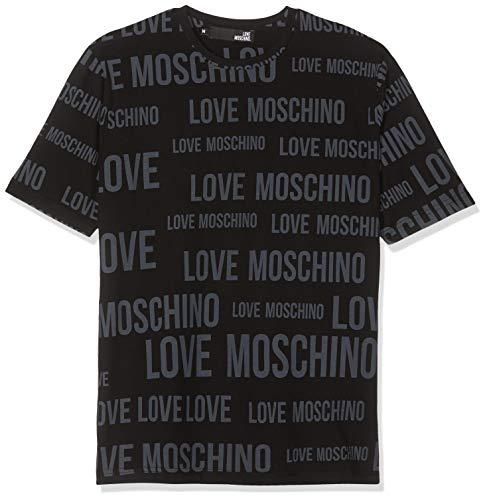 Love moschino allover logo_short sleeve t-shirt black/bl. 0011, medium uomo