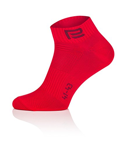 Prosske LF-2 Füßlinge Sportsocken Laufsocken Radsocken Atmungsaktiv Damen Herren Kinder viele Farben - Rot, 41-43