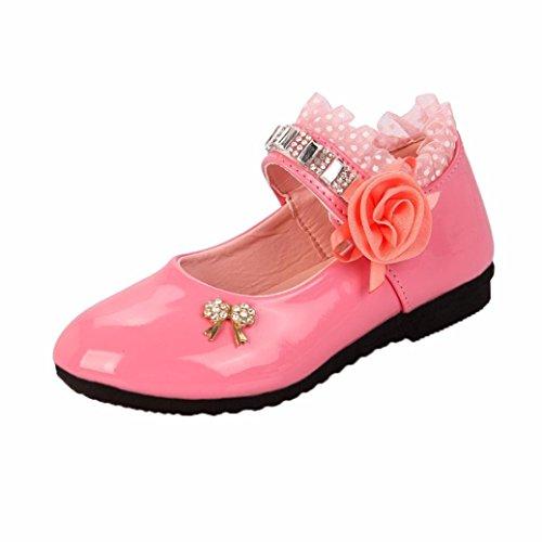 FEITONG Mädchen Ballerinas Schuhe   Mary Jane Lederschuhe für Mädchen   Spitze Prinzessin Schuhe Strass Sandalen (CN 27, Rosa)