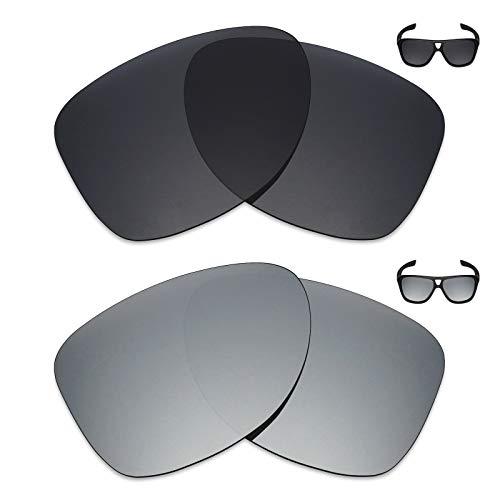 MRY 2Paar Polarisierte Ersatz Linsen für Oakley Dispatch 2Sonnenbrille-Reichhaltige Option Farben, Stealth Black & Silver Titanium