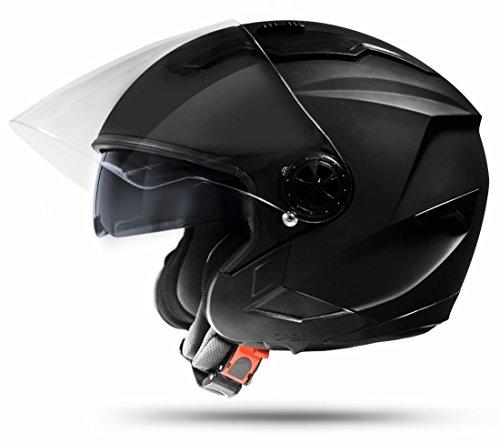 Preisvergleich Produktbild ATO-Moto Jet Helm LA Street Motorradhelm mit Doppelvisier System Integrierte Visiermechanik 4 punkt Belüftung und neuster Sicherheitsnorm ECE 2205 Große: L 59-60cm