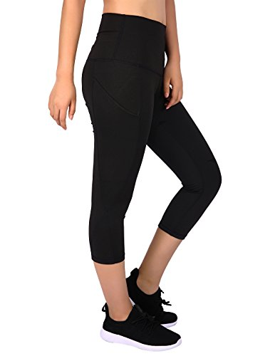 HDE-Womens-Capri-Yoga-Pants-Fitted-Stretch-Leggings-for-Workouts-Running-Black-X-Large