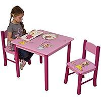 Preisvergleich für LibertyHouseToys Princess Tisch und zwei Stuhl Set, Holz, mehrfarbig