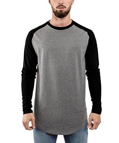 Blackskies Baseball Longsleeve T-Shirt | Langes Oversize Fashion Basic Langarm Raglan Herren Longshirt Long Tee Melliert - Grau-Schwarz Large L - Long Sleeve Baseball Shirt
