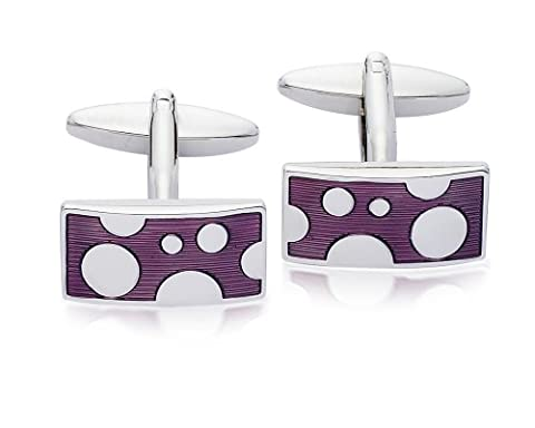 Code Red Men's Designer Enamel Purple/Silver Spot Cufflinks