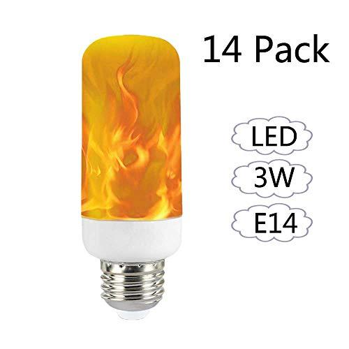 lamme Glühbirne E14, Flackernde Flamme Birne Leuchtmittel Flammenfarbe wahre Feuer Farbe für Innen, Außen, Bar, Halloween Dekoration Lampe, 14 Pack (M ()