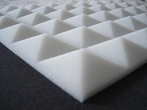 Lot de 62panneaux acoustiques à relief pyramidale, pour studio d'enregistrement, 49 x 49 x 4 cm, densité 30 kg/m³, insonorisants bianco