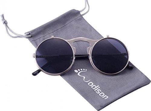 WODISON Steampunk Style Sonnenbrille Flip up runde Linse für Männer Frauen mit Tasche (Silberrahmen Grau Linse)