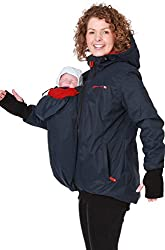GoFuture Damen Tragejacke für Mama und Baby 4in1 Känguru Jacke Umstandsjacke aus Concordia Shell und Fleece LOVEWINGS GF2070XI in Marine mit rotem Innenstoff