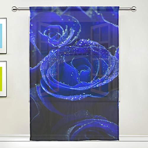 DOSHINE Vorhang, transparent, Blaue Rose, Valentinstag, für Türen, Fenster, Schlafzimmer, Badezimmer, Küche, Wohnzimmer, 139,7 x 198 cm, 1 Paneel, Polyester, Multi, 55