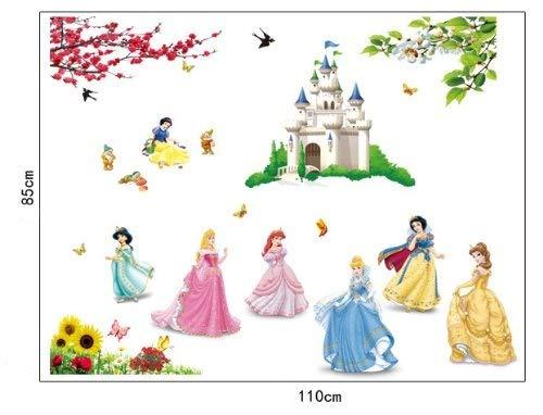 ufengke® Schöne Prinzessin Schöne Kleine Zwerge und Cartoon-Burg Wandsticker,Kinderzimmer Babyzimmer Entfernbare Wandtattoos Wandbilder