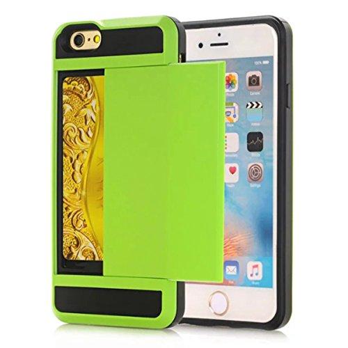 Coque Apple iPhone 6 / Apple iPhone 6s 4.7 inch, Forhouse Double Couche Coque Doux Svelte TPU Heavy Duty PC 2 in 1 Portefeuille Coque Sliding[Fente pour Carte]Antidérapant Antichoc Protection de Houss Vert