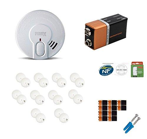 20er Set Rauchwarnmelder | Rauchmelder Set mit 20 9V Volt Duracell oder GP Alkaline Batterien