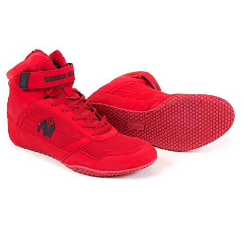 Gorilla Wear High Tops Red rot - schwarzes Logo - Bodybuilding und Fitness Schuhe für Damen und Herren, Rot - Schwarzes, 43 EU
