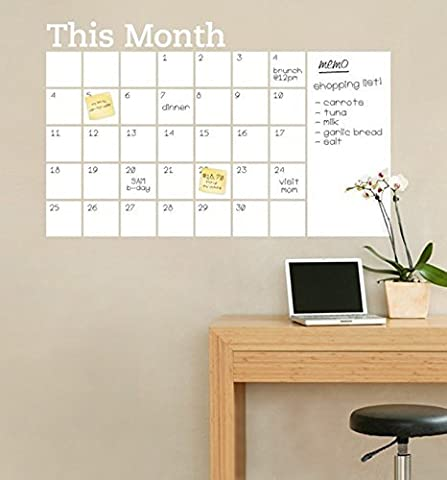 White board Wall Erasable Calendar Decal - 2'x3' Inches - Adhesive Non-Magnetic Wall Decal Calendar-Perfect Planner for Families, School, Goals,
