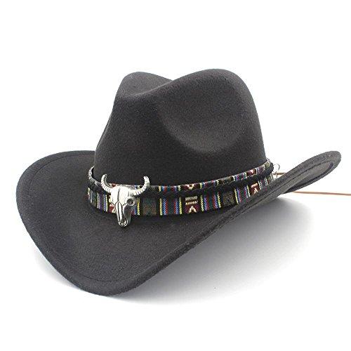 GHC Gorras y Sombreros para Las Mujeres de Moda los Hombres del Sombrero de Vaquero Occidental Lady Jazz Cowgirl Sombreros del Sombrero ( Color : Negro , Size : 56-58CM )
