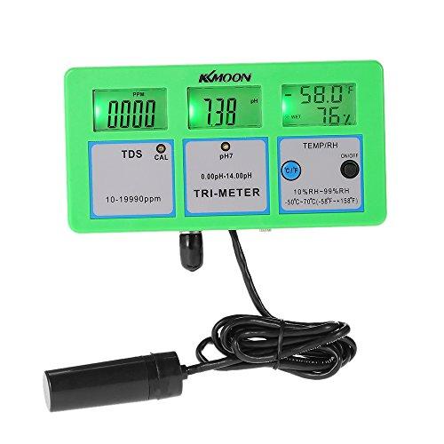 KKmoon Professional 4 in 1 Multi Parameter Wasseruntersuchung Meter Digital LCD Tri-Meter Multi Funktions Wasser Quality Monitor pH / RH / EG (TDS) / TEMP Multiwasserqualität Tester