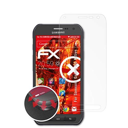 atFolix Schutzfolie passend für Samsung Galaxy S6 Active Folie, entspiegelnde & Flexible FX Bildschirmschutzfolie (3X)