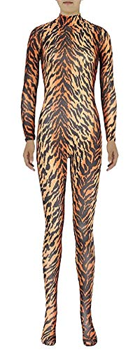 ex Ganzkörperanzug Anzug Lycra Bodysuits Kostüm Tiger-Erwachsener halber Reißverschluss 2XL ()