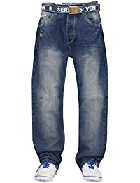New Mens 7 Series Brand Cotton Stone Washed Comfort Fit Jeans Pants Free Belt