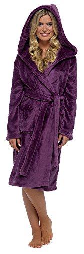 Womens/Ladies Nightwear/Shimmer pigiama in pile accappatoio con cappuccio, maniche lunghe, vari colori e misure Purple