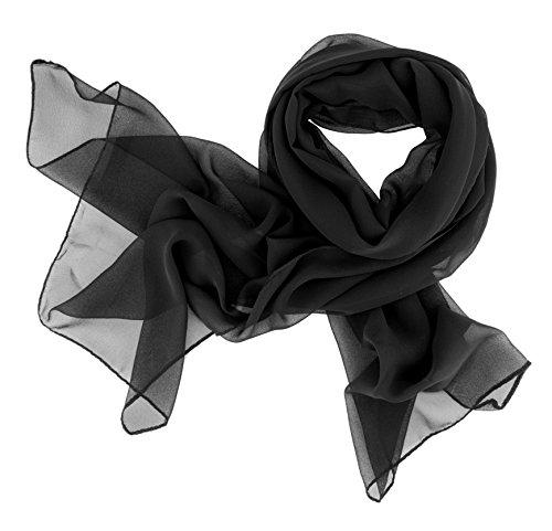 Dolce Abbraccio Damen Schal Stola Halstuch Tuch aus Chiffon für Frühling Sommer Ganzjährig (Schwarz)