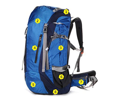 Outdoor-Multifunktions-Breathable Travel Wasserdichter Wanderrucksack,Black Blue