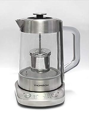 Thomson Bouilloire théière électrique 2 en 1 avec contrôle électronique de la témpérature 1.7 litres 2000 Watts, INOX