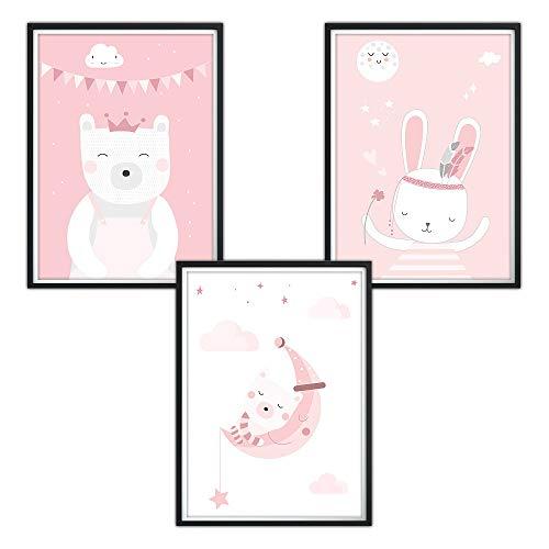 luvel (P28) 3er-Set DINA4 Poster fürs Kinderzimmer und den Bilderrahmen, Babyzimmer Bilder, Mädchen Junge Deko, Dekoration Kinderzimmer