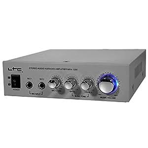 LTC MFA 1200 - Ampli Dj 2x100W pour Karaoké, conférences, salons (2 entrées micro, equalizer 2 bandes, 12V) Argent