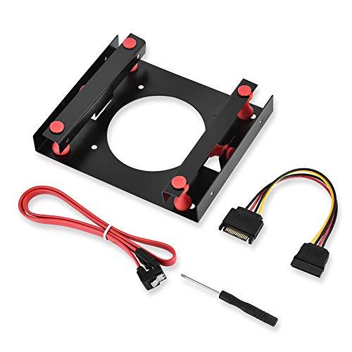 ELUTENG SSD Einbaurahmen 2.5 auf 3.5 HDD Wechselrahmen 25 ssd mounting kit 15 Pin Male auf Female HDD Festplattenhalterung inkl.Befestigungsschrauben+Schrauben SATA Kabel EINWEG - Einweg-gehäuse