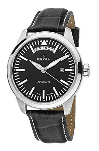 KRONOS - Pilot Automatic Day Date Black K006.55 - Reloj de Caballero automático, Correa de Piel Negra...