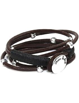 Beau Soleil Jewelry Schmuck Armband Wickelarmband Damen Herren Lederschmuck braunes Leder