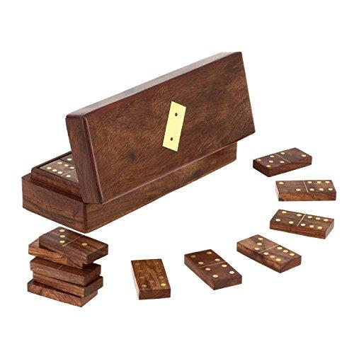 Fatti a mano in legno gioco di tessere del domino in contenitore - gioco completo set -20.3 x 7.6 x 6.4 cm