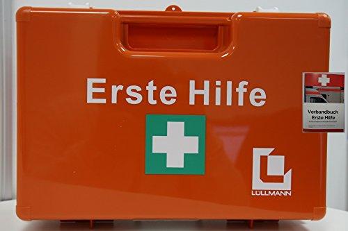 BETRIEBS VERBANDSKASTEN LÜLLMANN Erste Hilfe Koffer DIN 13157 Verbandkasten + Wandhalter orange, inklusive Verbandbuch Maße:200 x 280 x 115mm
