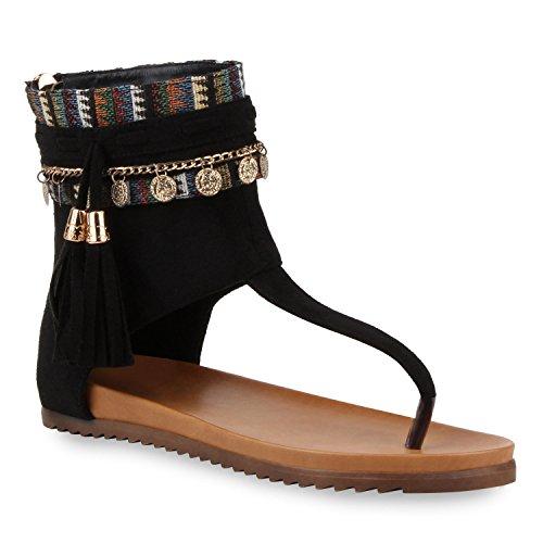 Senhoras Elegantes Strass Sandálias Romanas Recortes Sapatos De Verão Cadeia De Preto