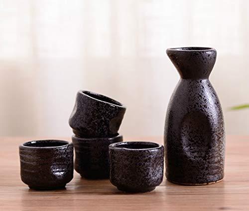 MIRUIKE Sake-5tlg. Set Japanische Sake-Becher Set mit Keramik-Sake Topf für Zuhause Halloween Thanksgiving Weihnachten ()