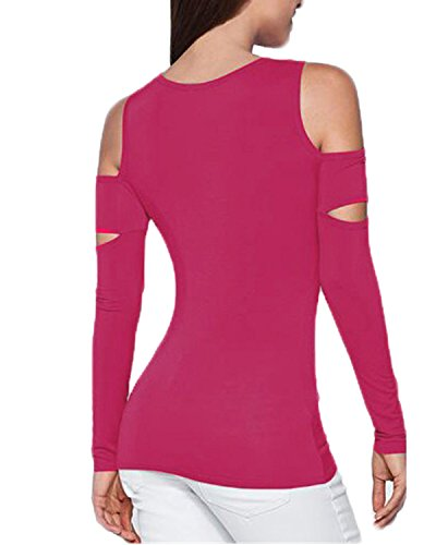 ZANZEA Damen Schulterfrei Langarm Slim Party Top Bluse T-Shirt Tunika Hemd Oberteil Rot