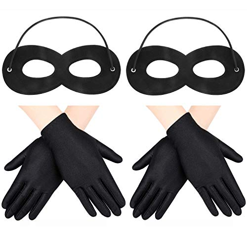 2 Stücke Filz Augenmasken mit Elastischem Seil und 2 Paar Kostüm Handschuhen für Kinder Halloween Cosplay Party (Schwarz) (Halloween Paar Kostüm Kinder)