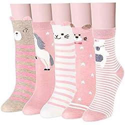 Yuccer Calcetines de Animales, 5 Pares Divertidos Calcetines de Algodón Linda Piso Calcetines de dibujos Crew Socks para Bebé Niñas Adulto (Rosado)