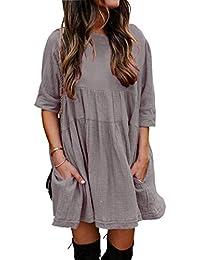 YOINS - Vestito estivo da donna, a maniche lunghe, mini abito da sposa