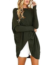 Pullover Largo Mujer Otoño Invierno Elegantes Moda Sweater Cuello Redondo Manga Larga Casuales Mujeres Color Sólido