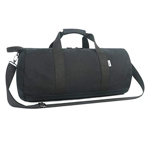 Kleine Reisetasche für Männer und Damen - Sporttasche Segeltuch Trainingstasche - Travel Duffel Bag & Sports Gym Bag (2.0 Schwarz)
