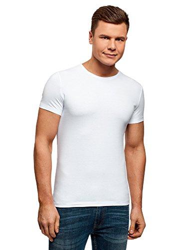 oodji Ultra Herren Tagless T-Shirt Basic (2er-Pack), Weiß, DE 44/XS (T-shirt 2 Seiten-weißes)