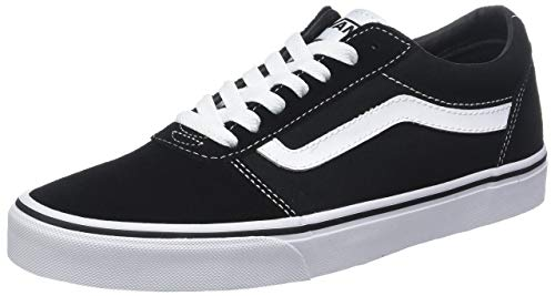 Canvas Lace Up Schuhe (Vans Herren Ward Canvas Sneaker, Schwarz ((Suede Black/White C4r), 39 EU)