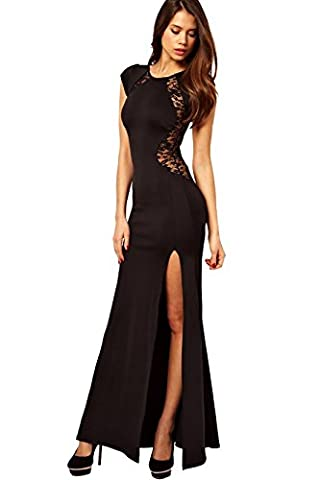 Women Cocktail Maxi Dress Floral Lace Back High Thigh-high Slit Fishtail (M, Black)