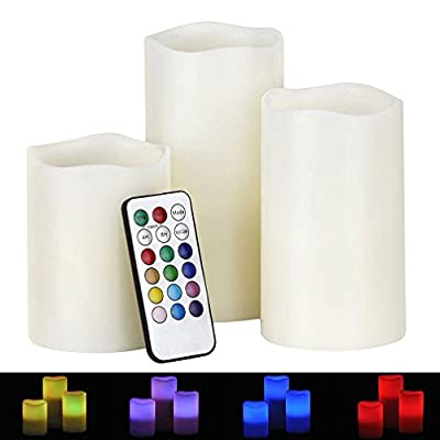 "Noza Tec Real Wax Battery Operated Flameless Candles with Remote Control & Timer,Set of Three 4""/5""/6"" Candles"